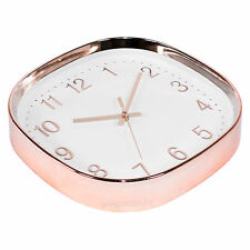 Square 38cm Copper Rose Gold White Wall Clock Large Kitchen Decor Quartz Modern