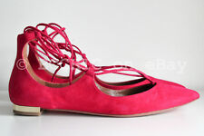 BN AQUAZZURA 'christy point toe flats' pink suede lace tie up pointy gold 37