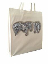 Zebra Zebras Meeting Cotton Shopping Bag Tote Long Handles & Gusset X Space