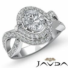 Halo Pre-Set Oval Diamond Engagement Antique Style Ring GIA I SI1 Platinum 2.5ct