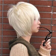 New fashion Korean handsome boy short Platinum Blond hair Men's Anime COS wig ZA