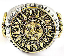 THE SUN & OUROBOROS ON WHEEL OF FORTUNE TAROT STERLING 925 SILVER RING Sz 10