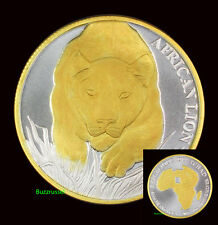 2017 Republic of Chad African 24K Gold Gilded 1 ounce Oz .999 Silver COA Coin