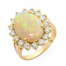 3.42 ct Opal and diamond ring 14k gold