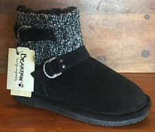 "NEW, Bearpaw, SZ 8, ""Nova"" Suede Wool-Lined Knit Booties, Sheepskin Footbed"