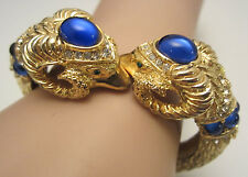 Rare Vtg Signed Craft Goldtone Blue Glass Rhinestone Ram Head Clamper Bracelet