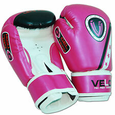VELO 6oz Boxing Gloves Junior Training Sparring Kids Punch Bag Muay Thai Pink