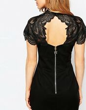 LIPSY VIP BLACK SWEETHEART BODYCON WITH LACED APPLIQUE CAPE SIZE 10 *WORN ONCE*