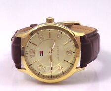 Tommy Hilfiger Brown Croco Embossed Leather Watch up to 7.25 wearable length