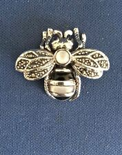 Bumble bee Marcasite with Inlay Pin Brooch Genuine .925 Sterling Silver