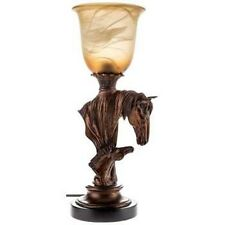 "NEW 16"" DECO STYLE COLT & HORSE TABLE LAMP UP LIGHT BRONZE RESIN WESTERN DECOR"