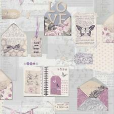 ARTHOUSE PS I LOVE YOU LETTER PATTERN HEART BUTTERFLY MOTIF WALLPAPER LILAC