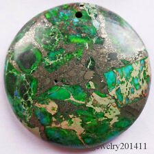 Beautiful Green Sea Sediment Jasper & Pyrite Round Pendant Bead D0075171