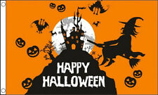 HAPPY HALLOWEEN WITCH and BATS FLAG 5' x 3'  Pumpkin Party Night Haunted House