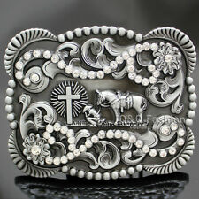 Vintage Silver Native 3D Cowboy Church Prayer Cross Horse Crystal Belt Buckle
