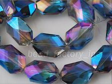 10ps Blue Colorized Glass Crystal Oval Hexagon Beads Spacer Findings 18x12mm