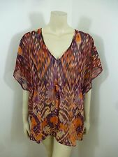 CAbi Multi-Color See Thru Kimono Sleeve Woman Top Blouse Size M