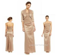 Mother Bride Gorgeous Satin Evening Bolero Gown Bead Pearl Detail Formal NEW 18