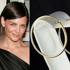 "1 7/8"" 47mm 14K Gold-Plated Easy ~Clip On Round Hoop Circle Non Pierced Earrings"