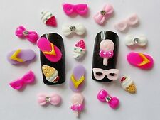"20pcs x Holiday""Flipflop,Glasses,Ice-Cream & Rhinestone Bows"" 3D Resin Nail Art"