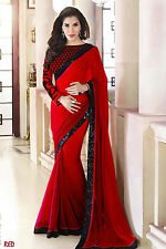 Bollywood Indian Designer Party Wear Red Saree Sari Bridal Wedding Saree
