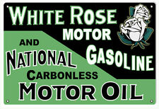 Reproduction White Rose Gasoline And National Motor Oil Sign