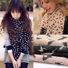 Sweet Lady Women's Long Chiffon Cat Print Scarf Wraps Shawl Stole Soft Scarves