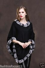 Fashion Elegant best rex rabbit pashm Cloak poncho Cape/Coat/Wraps/black