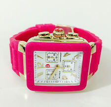 NWT MICHELE Women's watch PARK Jelly Bean Hot Pink & Yellow Gold MWW06L000021