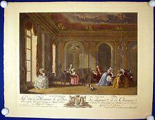 Salon des 18. Jahrhundert, sehr grosses, handkoloriertes Blatt!