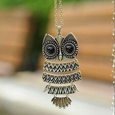 RF Vintage BRONZE Big Owl Pendent Necklace Long Sweater Chain Women Jewelry