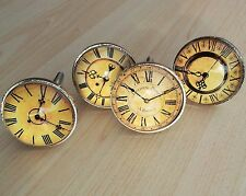 4 x Vintage Clock Face Drawer Knob Cupboard Cabinet Metal Glass Handle Pull