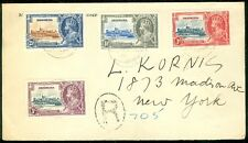 BERMUDA : 1936 Registered cover to New York franked with Silver Jubilee set.