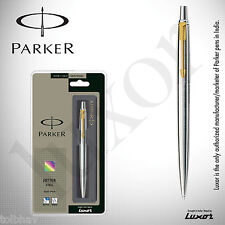 Parker Jotter Steel GT Ball Point Pen SS Gold Trim Fine Quink Blue Ink New BP