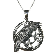 Sterling Silver 925 Talisman Raven Pentagram Star Pendant Necklace Lisa Parker