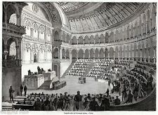 TORINO: Nuova Sala del Parlamento Italiano. Risorgimento. Stampa Antica. 1861