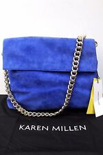 Karen Millen Blue Regent Suede Leather Tote Chain Shoulder Sling Shopper Bag New
