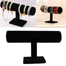 1Pc Bracelet Chain Watch Velvet T-Bar Rack Jewelry Display Stand Holder Black
