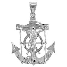925 Sterling Silver Mariner Crucifix Anchor Cross Pendant
