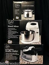 3 Crofton Appliances - 1.5 Qt Slow Cooker, Stand Mixer, and Belgian Waffle Maker