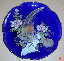 Oriental Plate Showing A Pair Of Pheasants High Glazed Dark Royal Blue