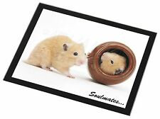 Hamsters in Pot Soulmates' Black Rim Glass Placemat Animal Table Gift, SOUL-87GP