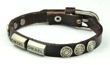 Diesel Jeans BROWN Studded Leather Cuff Bracelet Watch Band Necklace mens womens