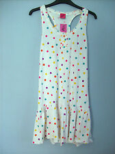 Dress Ladies Dress in White With Multi Coloured Dots Brand New With Tags