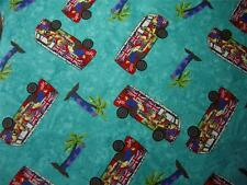 Campervan Cotton Fabric Metre Turquoise Blue Surfing British Holiday Camper 1m