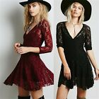 Sheer Lace 3/4 Sleeve V-neck Women's Homecoming Cocktail Party Fit Flare Dress
