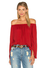 NEW CLOTH & STONE WOMEN SzL OFF THE SHOULDER LONG SLEEVE TOP BLOUSE IN BRICK.