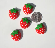 Strawberry Resin Flatbacks hair bow embellishments scrapbooking crafts glue on