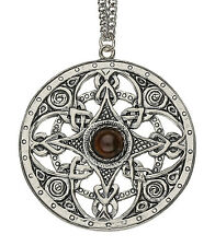Handmade Celtic Strickland Pewter Chain Pendant with Topaz Moonstone