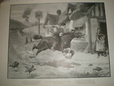 Riding for a Fire Engine in a country village by Ernest Smyth 1899 old print